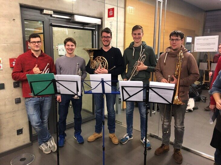 Five brass players of the university orchestra